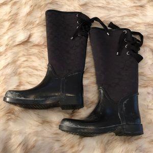 Coach sz 9 logo rain boots